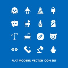 Modern, simple vector icon set on blue background with road, street, glasses, cabinet, law, swine, ufo, call, pig, object, background, poker, piglet, fiction, phone, traffic, game, space, sign icons