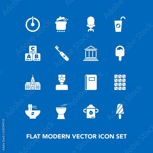 Modern, simple vector icon set on blue background with page, church
