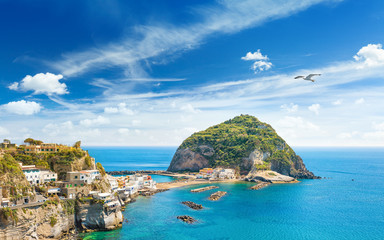 Foto op Canvas Cappuccino Giant rock near small village Sant'Angelo on Ischia island, Italy