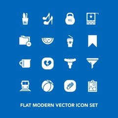 Modern, simple vector icon set on blue background with picture, heavy, hygiene, transportation, broken, sport, game, love, glass, football, train, health, soccer, travel, clean, image, fashion icons