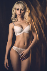 Slim attractive young blond woman posing in white lace underwear