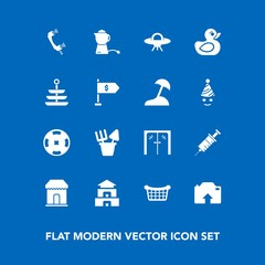 Modern, simple vector icon set on blue background with hot, dentist, phone, door, telephone, asia, background, poker, child, call, sale, casino, medical, temple, drink, teapot, market, dentistry icons