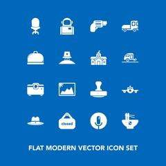 Modern, simple vector icon set on blue background with image, meal, frame, west, interior, departure, home, microphone, voice, flight, pistol, chinese, handgun, armchair, chair, mark, photo, gun icons