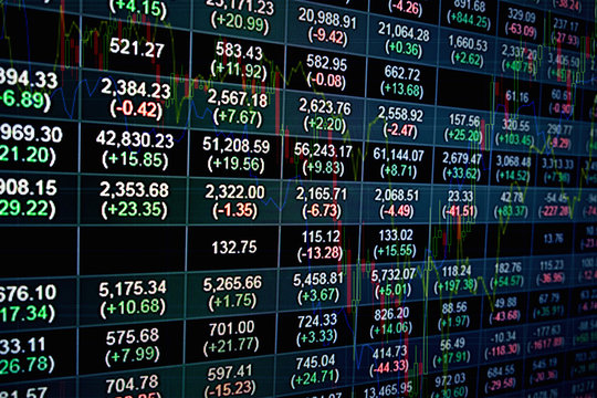 Stock market index graph of stock market financial analysis on LED display concept. Abstract stock market data graph.Stock market financial data statistic graph background.