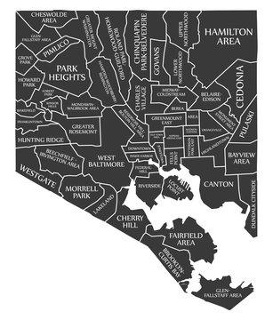 Baltimore Maryland city map USA labelled black illustration