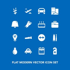 Modern, simple vector icon set on blue background with label, bulb, house, privacy, energy, light, travel, automobile, toothpaste, plane, real, vehicle, health, estate, hotel, equipment, gym icons