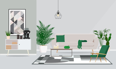 Interior design of the room, office for discussion and coffee pauses. Vector flat illustration.