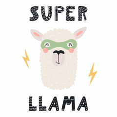 Hand drawn vector illustration of a cute funny llama in a mask, with lettering quote Super llama. Isolated objects. Scandinavian style flat design. Concept for children print.