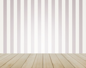 Empty top of vintage striped pattern wall and wooden deck tabletop.For product display