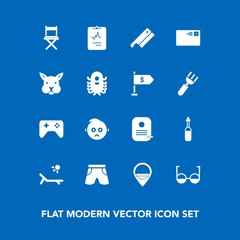 Modern, simple vector icon set on blue background with play, technology, vacation, axe, sad, animal, joystick, baby, game, wear, communication, white, mail, template, tool, cute, letter, bunny icons