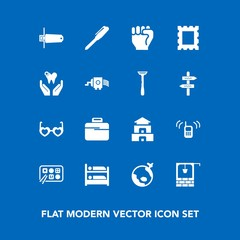 Modern, simple vector icon set on blue background with hippie, picture, pagoda, card, old, airplane, travel, culture, finger, flash, food, telephone, glasses, memory, chinese, fashion, hand, bag icons