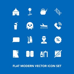 Modern, simple vector icon set on blue background with sign, speech, cylinder, scan, beverage, dentist, drop, circus, map, truck, file, document, oxygen, ufo, paper, transportation, delivery icons