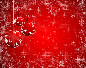Abstract Christmas background and New Year on red background with  snowflakes,decor and place for text.