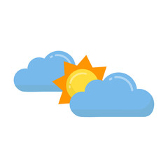 cartoon sun vector with a clouds set