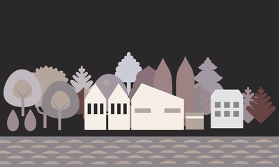 Flat design illustration of a village or town on the banks of the river, with trees in the background under a black night sky - vector