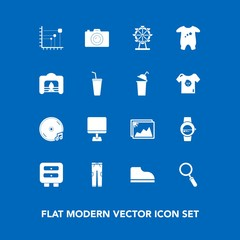 Modern, simple vector icon set on blue background with laptop, image, zoom, kid, warm, computer, baby, footwear, technology, business, smart, child, london, frame, clothes, internet, diagram, pc icons