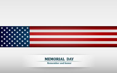 Banner for memorial day. American flag on gray background. Vector illustration