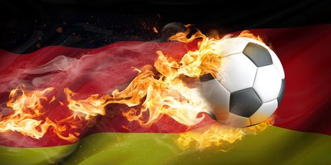 Brennender Fußball im Hintergrund Deutschlandfahne
