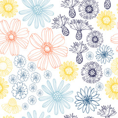 Vector seamless  pattern with summer flowers.