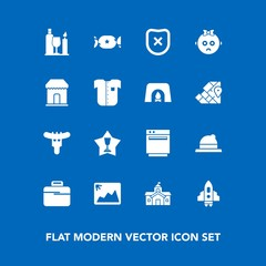 Modern, simple vector icon set on blue background with city, bag, gas, drink, hat, house, security, first, food, headwear, image, business, hotdog, lollipop, style, technology, award, appliance icons