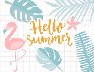 Hello summer banner, tropical frame with palm foliage and flamingo. Calligraphy text, pastel green and yellow colors.