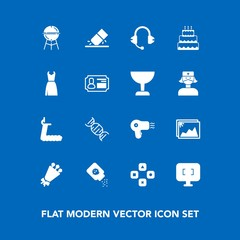 Modern, simple vector icon set on blue background with microphone, monitor, play, technology, dryer, music, image, fun, sound, bouquet, fitness, cake, treadmill, bottle, pie, health, screen, bbq icons