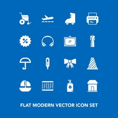 Modern, simple vector icon set on blue background with road, street, happy, sale, sign, temperature, percent, price, print, printer, airport, concept, audio, kid, handicap, equipment, boat, soap icons