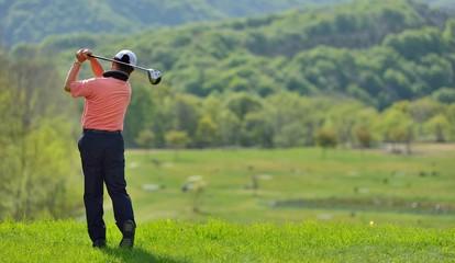 新緑のゴルフコースとゴルファー