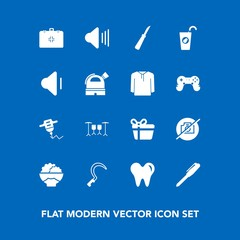 Modern, simple vector icon set on blue background with juice, agriculture, sound, office, food, stationery, hand, white, drink, work, knife, dentist, gift, drill, music, camera, grain, rice, up icons
