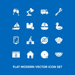 Modern, simple vector icon set on blue background with watermelon, disk, alcohol, street, equipment, marine, hospital, cd, nature, health, lock, spanner, disc, castle, building, estate, no, sign icons