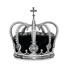 Crown hand drawing vintage style