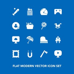 Modern, simple vector icon set on blue background with frame, baseball, cloud, rain, oven, parasol, cooking, tool, motorcycle, weather, joystick, sport, craft, axe, musical, magnet, kitchen icons
