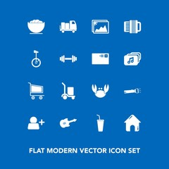 Modern, simple vector icon set on blue background with bowl, estate, circus, dish, image, guitar, equipment, fitness, building, real, trolley, business, musical, market, fresh, cargo, delivery icons