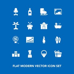Modern, simple vector icon set on blue background with glass, chief, dessert, business, fan, cold, bottle, sport, bed, image, food, vacation, restaurant, ice, photo, skating, trend, winter, air icons
