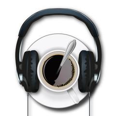 casque audio - concept - tasse de café - écoute -radio - café - musique - matin - réveil - info