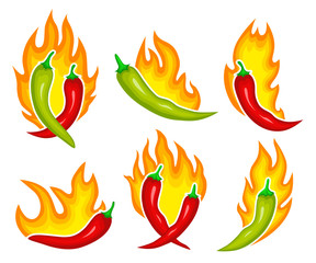 Chili pepper on fire