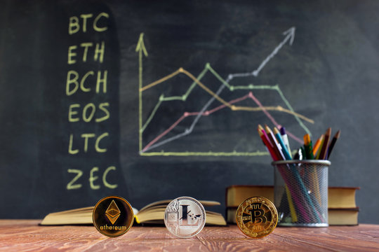 A table with books on the background of graphs on a chalkboard. Learning crypto currency in school. Concept, a new educational subject for children.
