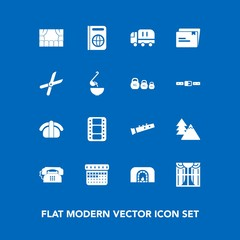 Modern, simple vector icon set on blue background with sound, travel, fish, delivery, japan, window, home, day, nature, calendar, salmon, music, tree, file, christmas, video, environment, warm icons