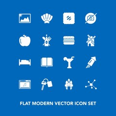 Modern, simple vector icon set on blue background with furniture, music, post, rocket, nature, celebration, technology, vehicle, molecule, stamp, martini, double, shell, event, automobile, mail icons