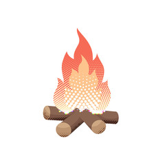 Halftone flat campfire