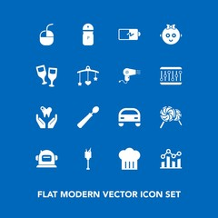 Modern, simple vector icon set on blue background with candy, food, battery, dental, business, computer, bucket, kitchen, mouse, device, lollipop, health, drink, graph, sweet, energy, seasoning icons