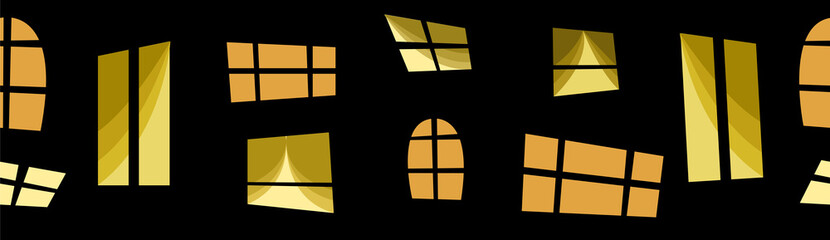 windows in the night city. seamless pattern