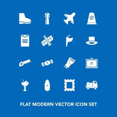 Modern, simple vector icon set on blue background with construction, saw, bouquet, dress, picture, flight, airplane, footwear, alcohol, floral, shipping, drink, female, room, work, frame, travel icons