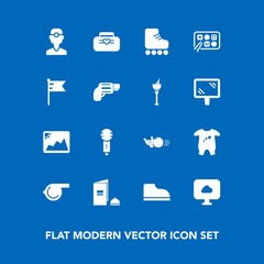 Modern, simple vector icon set on blue background with medicine, clothes, object, baby, brochure, whistle, book, clothing, bowling, paper, kid, style, photo, dentist, dentistry, skating, voice icons