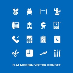 Modern, simple vector icon set on blue background with desert, meat, winner, stone, sign, well, hour, restaurant, prize, water, image, business, kitchen, green, tower, spoon, communication, old icons