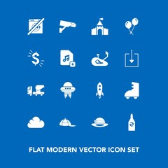 Modern, simple vector icon set on blue background with safety, equipment, wash, currency, headwear, technology, white, mixer, beverage, building, surveillance, file, cap, spaceship, clothing icons