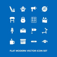 Modern, simple vector icon set on blue background with calendar, no, plastic, health, nutrition, timetable, food, day, cricket, transport, kitchen, summer, photo, camera, finance, drink, money icons
