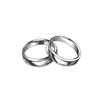 Beautiful vector hand drawn wedding rings Illustration.