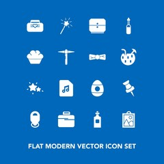 Modern, simple vector icon set on blue background with nature, equipment, easter, spring, location, image, magic, technology, astronomy, drink, cake, sound, hammer, tool, leather, pin, object icons