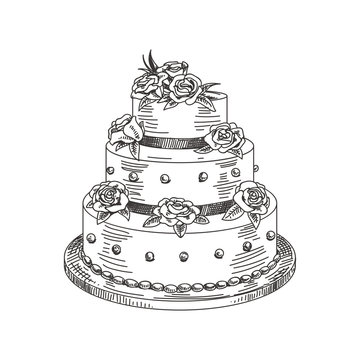 vector hand drawn a wedding cake Illustration